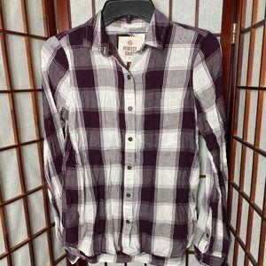 Purple white plaid flannel shirt